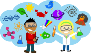 cartoon drawing of kids and science junk
